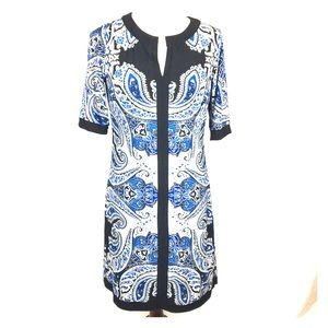 INC INTERNATIONAL CONCEPTS Black Blue White Dress